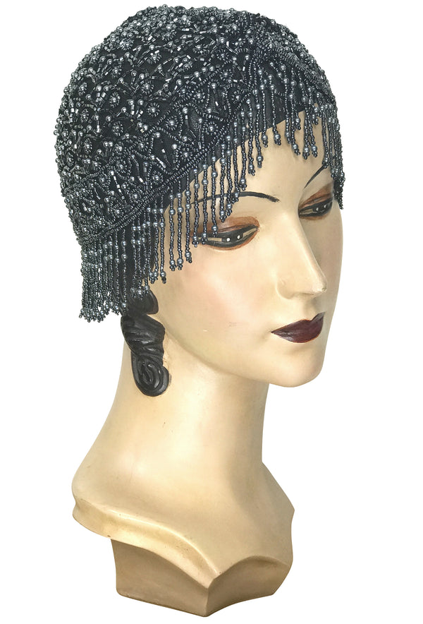 1920s Hand Beaded Gatsby Flapper Party Cap - Short Fringe - Pewter on Black - The Deco Haus