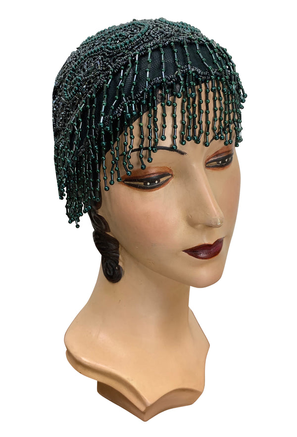 1920s Hand Beaded Gatsby Flapper Party Cap - Short Fringe - Teal Green - The Deco Haus