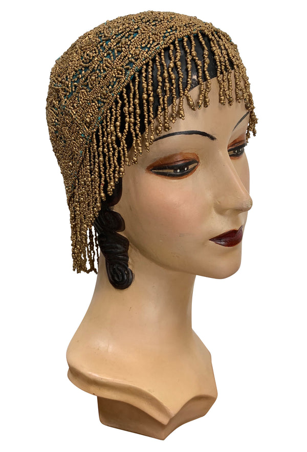 1920s Hand Beaded Gatsby Flapper Party Cap - Short Fringe - Turquoise Matte Gold