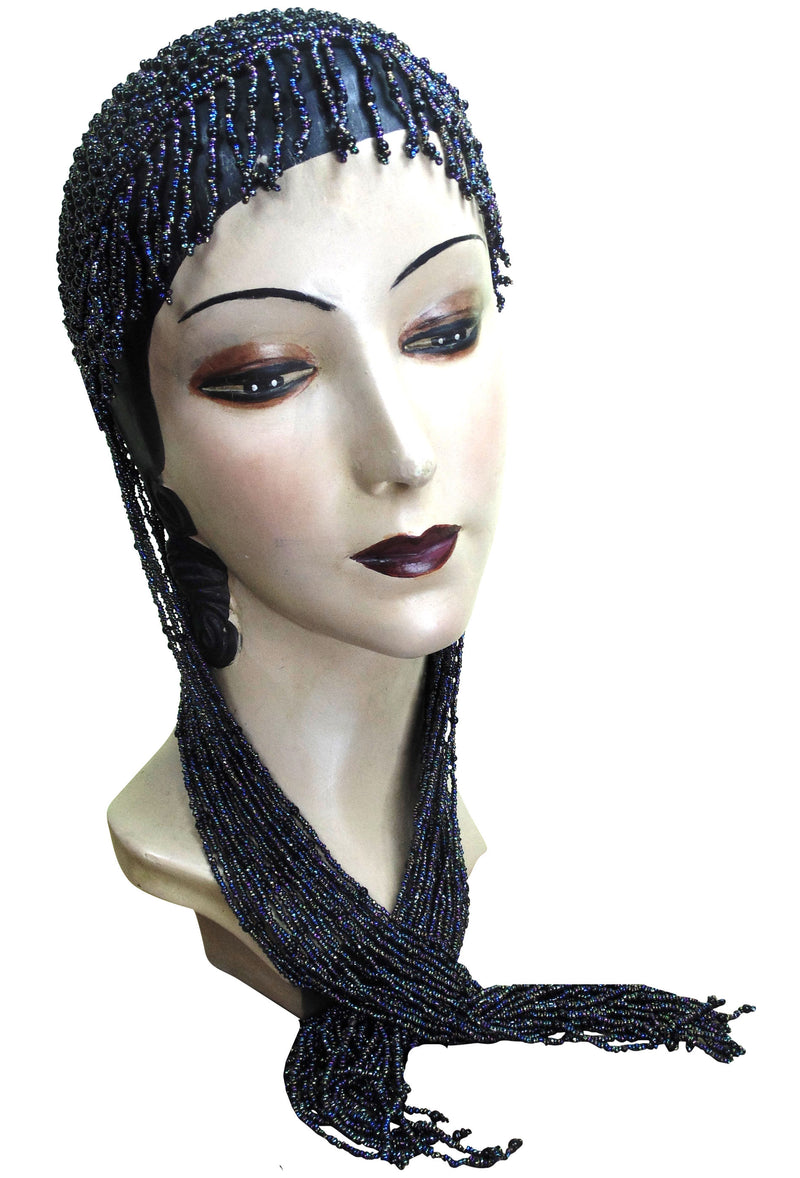 1920s Hand Beaded Gatsby Lattice Flapper Party Cap - Long Fringe - Black Iridescent - The Deco Haus