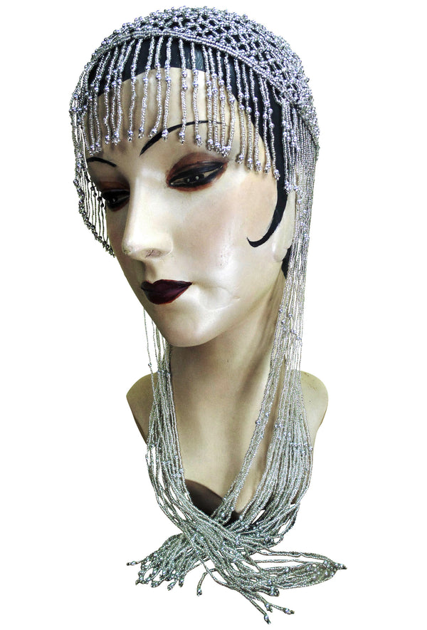1920s Hand Beaded Gatsby Lattice Flapper Party Cap - Long Fringe - Black Silver - The Deco Haus