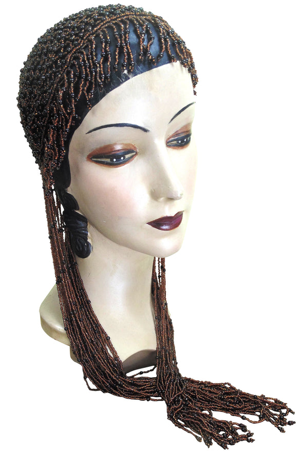 1920s Hand Beaded Gatsby Lattice Flapper Party Cap - Long Fringe - Copper Brown - The Deco Haus