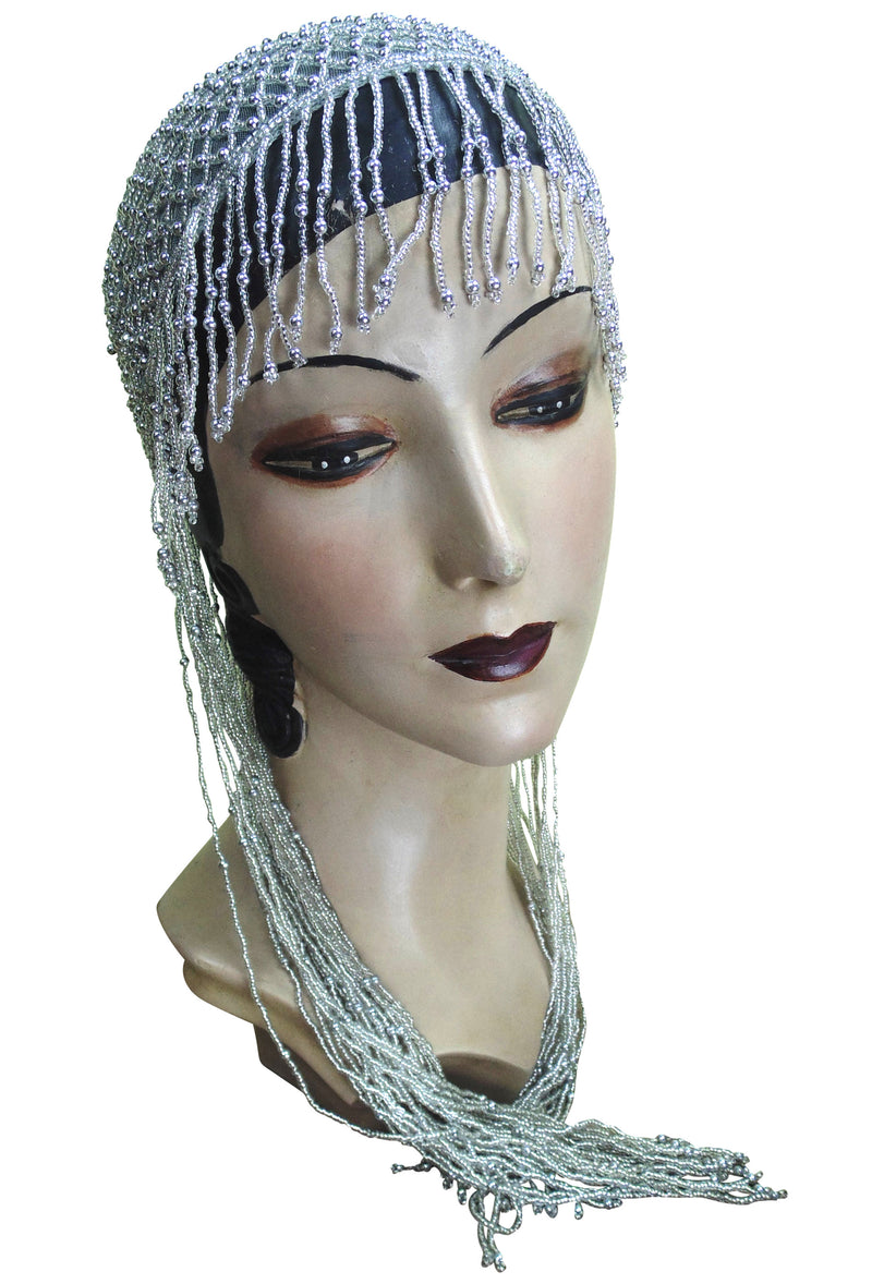 1920s Hand Beaded Gatsby Lattice Flapper Party Cap - Long Fringe - Silver Grey - The Deco Haus