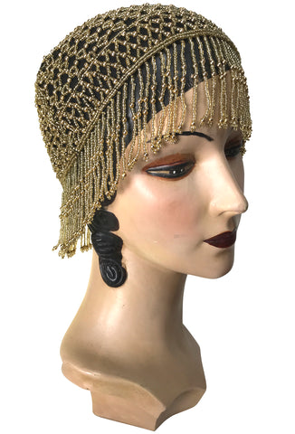 1920s Hand Beaded Gatsby Lattice Flapper Party Cap - Short Fringe - Black Gold