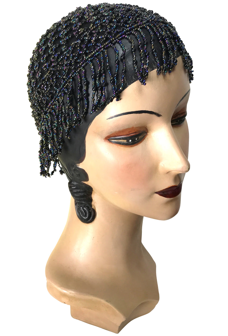 1920s Hand Beaded Gatsby Lattice Flapper Party Cap - Short Fringe - Black Iridescent - The Deco Haus