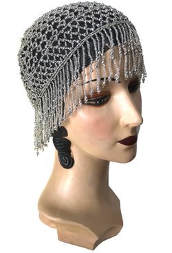 1920s Hand Beaded Gatsby Lattice Flapper Party Cap - Short Fringe - Black Silver - The Deco Haus