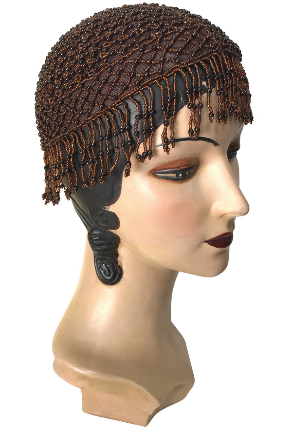 1920s Hand Beaded Gatsby Lattice Flapper Party Cap - Short Fringe - Copper Brown - The Deco Haus
