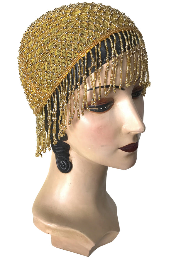 1920s Hand Beaded Gatsby Lattice Flapper Party Cap - Short Fringe - Yellow Gold - The Deco Haus