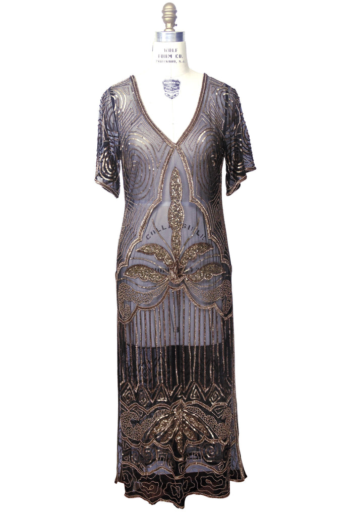 Black and gold 1920s dress style