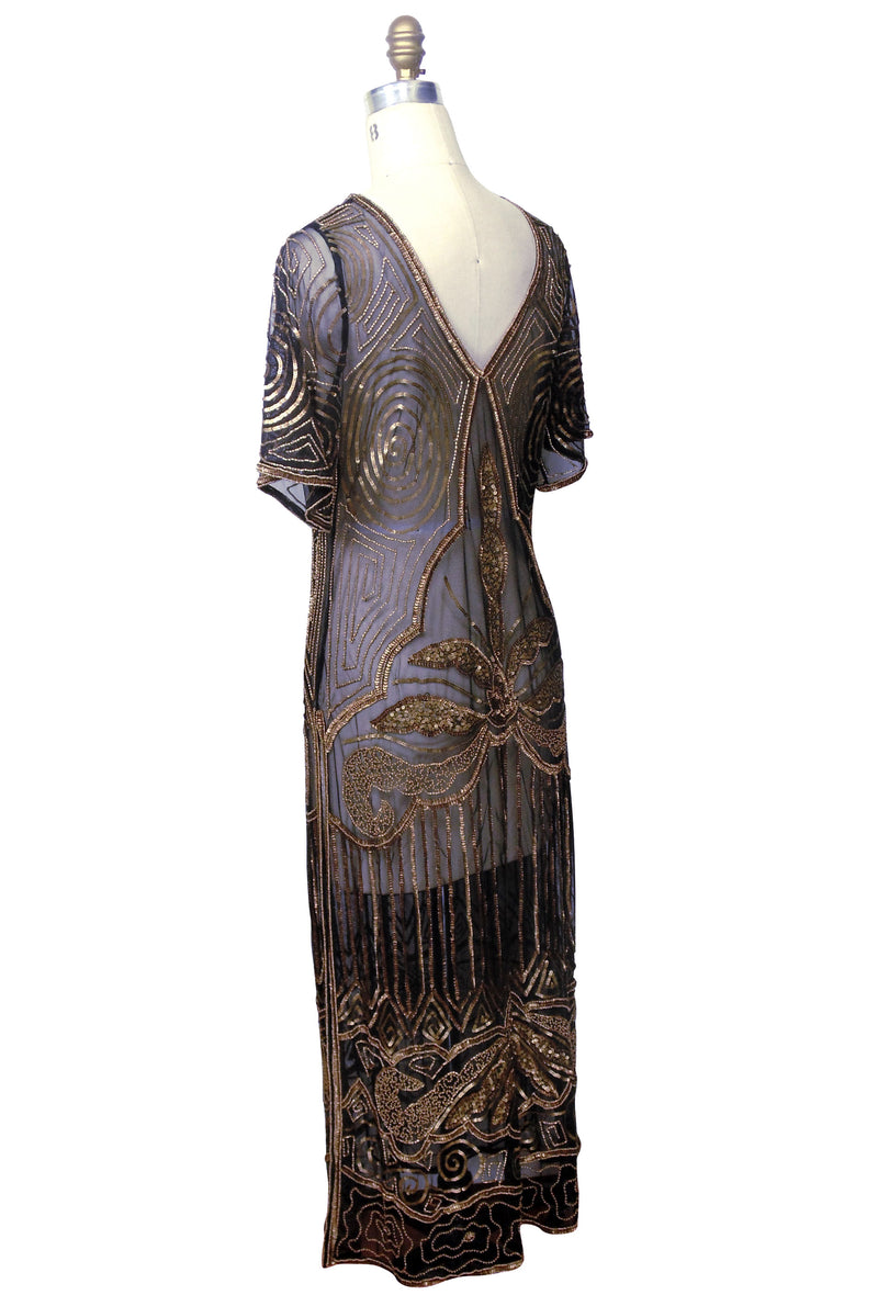 1920s Long Panel Downton Abbey Gown - The Majestic - Antique Gold on Black - The Deco Haus