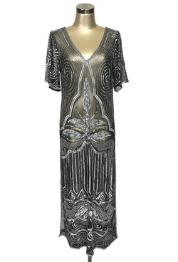 1920s Evening Gowns by Year DOWNTON ABBEY GOWN - THE MAJESTIC - ANTIQUE SILVER ON BLACK 1920S LONG PANEL $229.95 AT vintagedancer.com