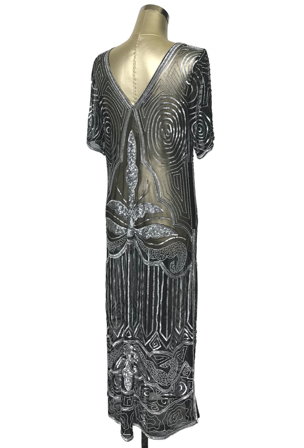 1920s Long Panel Downton Abbey Gown - The Majestic - Antique Silver on Black