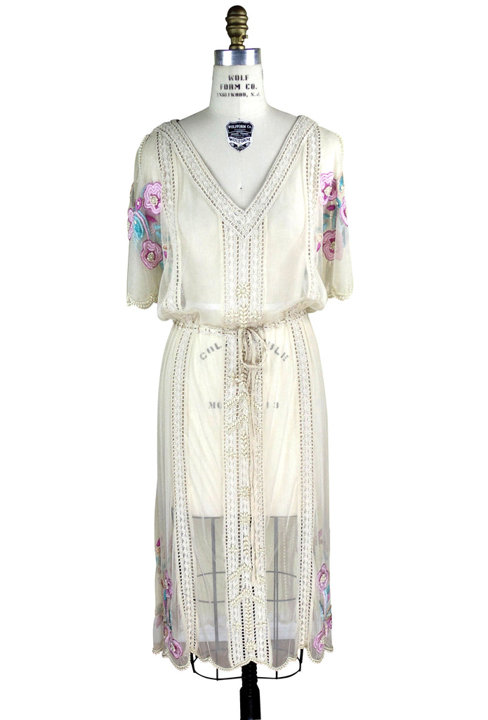 Downton Abbey Inspired Dresses 1930s Style Vintage Tulle Embroidered Beaded Dress - Le Jardin - Natural $229.95 AT vintagedancer.com