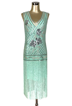 "1920s Style Flapper Fringe Party Dress - The ""Original"" Artist - Silver on Turquoise Green"