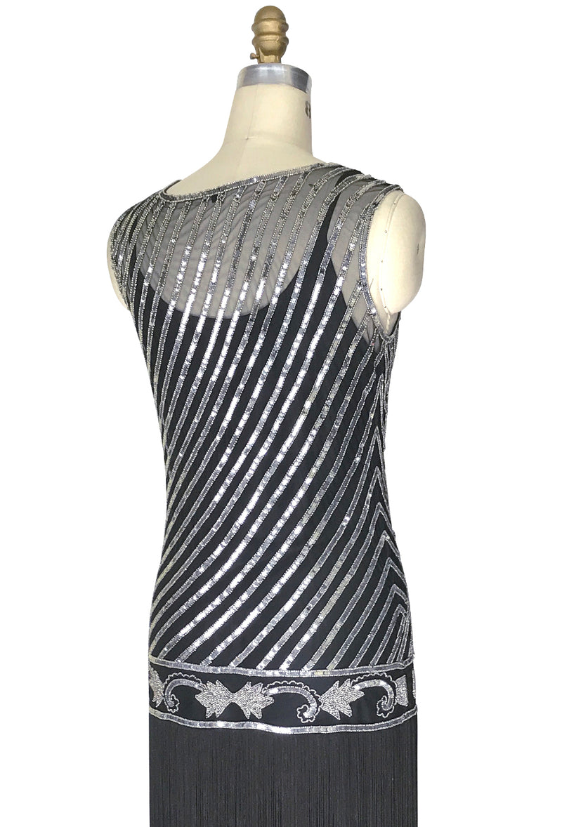 "1920s Style Flapper Fringe Party Dress - The ""Original"" Artist - Silver on Black - The Deco Haus"