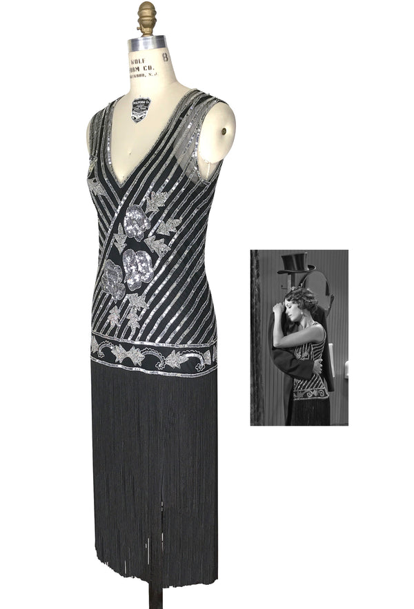 "1920s Style Flapper Fringe Party Dress - The ""Original"" Artist - Silver on Black"