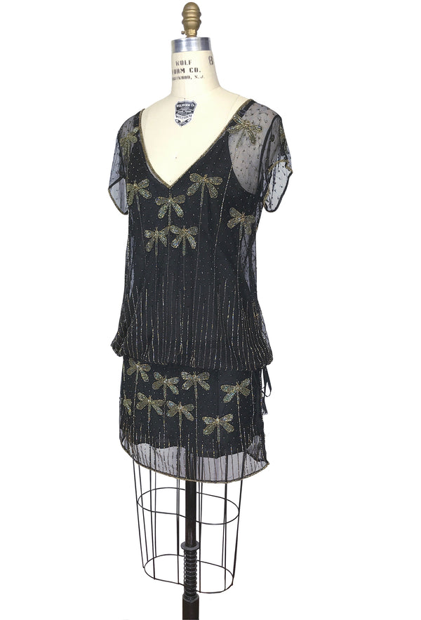 1920s Style Vintage Tulle Beaded Dropwaist Dress - The Dragonfly - Black Gold Iridescent - The Deco Haus