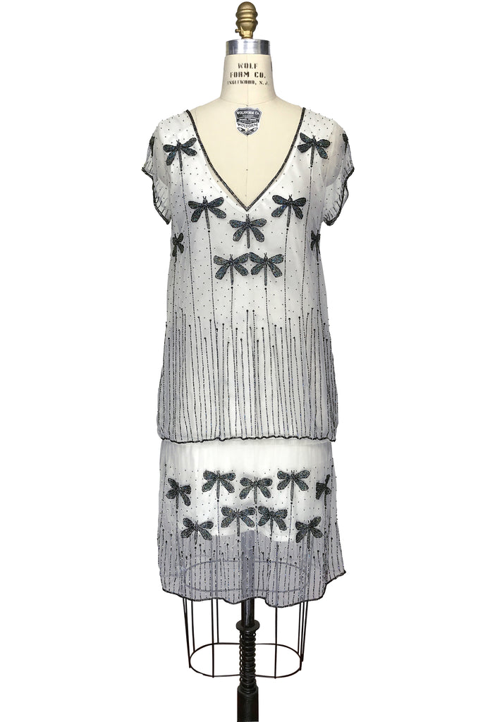 1920s Style Dresses, Flapper Dresses 1920s Style Vintage Tulle Beaded Dropwaist Dress - The Dragonfly - White Black $329.95 AT vintagedancer.com