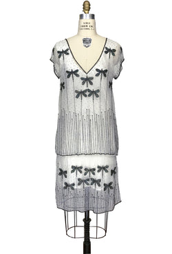 1920s Style Vintage Tulle Beaded Dropwaist Dress - The Dragonfly - White Black - The Deco Haus
