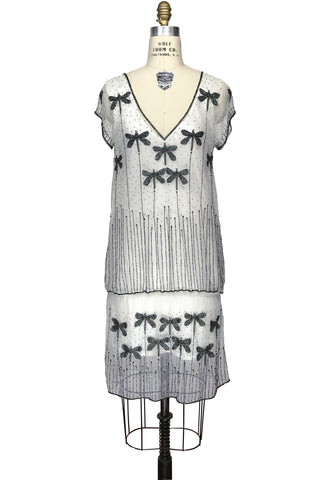 1920s Style Vintage Tulle Beaded Dropwaist Dress - The Dragonfly - White Black