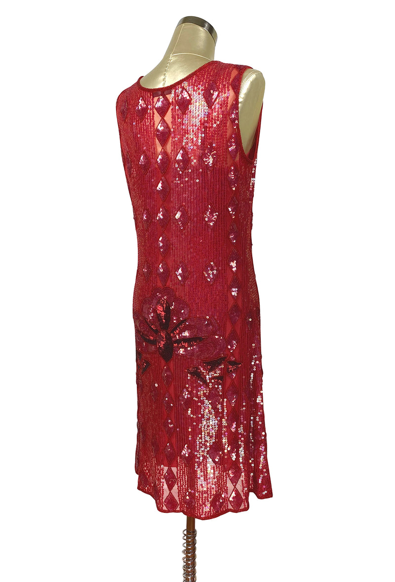 "1920s ""The Artist"" Beaded Sequin Party Dress - The Garçonne  - Ruby Red - The Deco Haus"