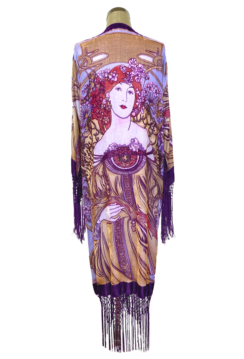 1930's Art Deco Kimono Scarf Long Jacket - Mucha Camelia - Purple Silk Velvet - The Deco Haus
