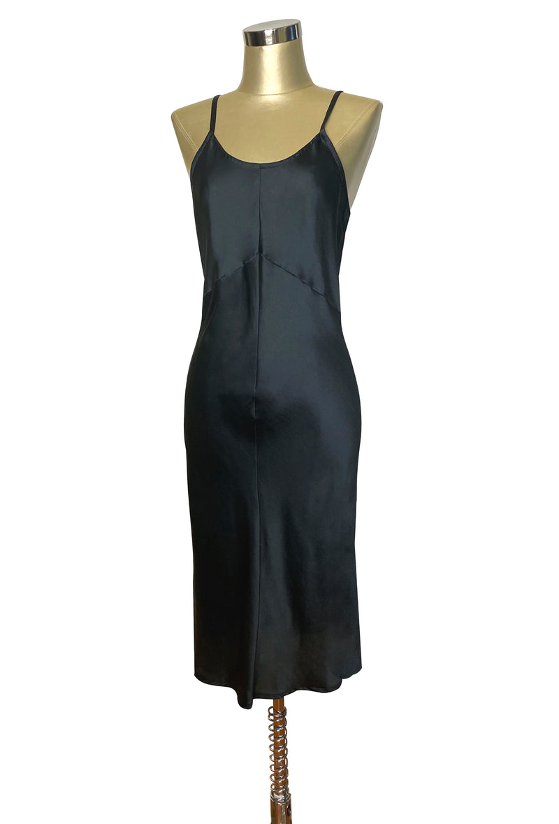 1930's Style Panel Bias Satin Slip Dress - Black