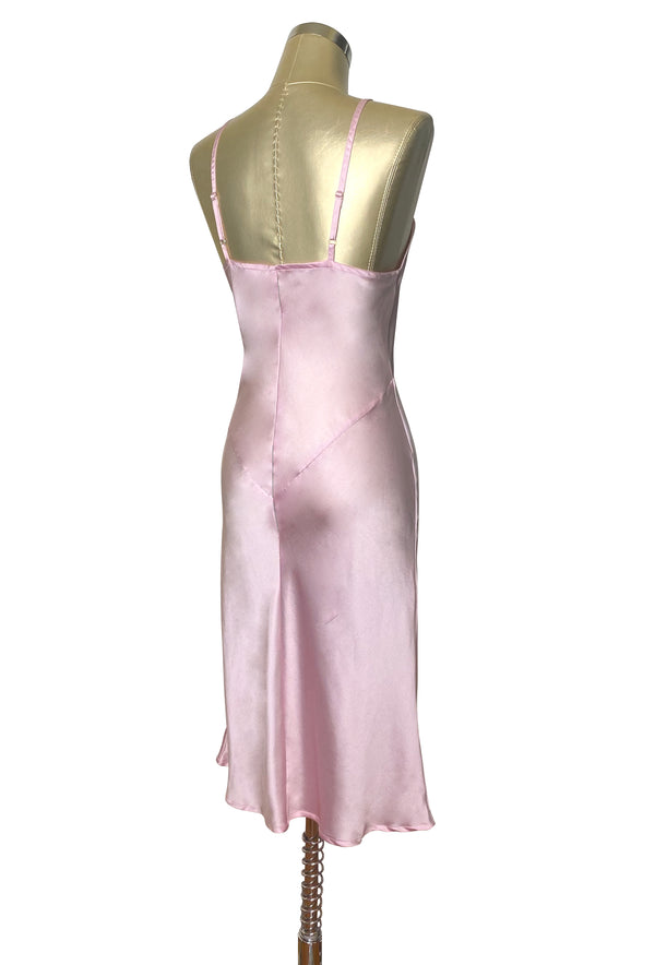 1930's Style Panel Bias Satin Slip Dress - Vintage Pink