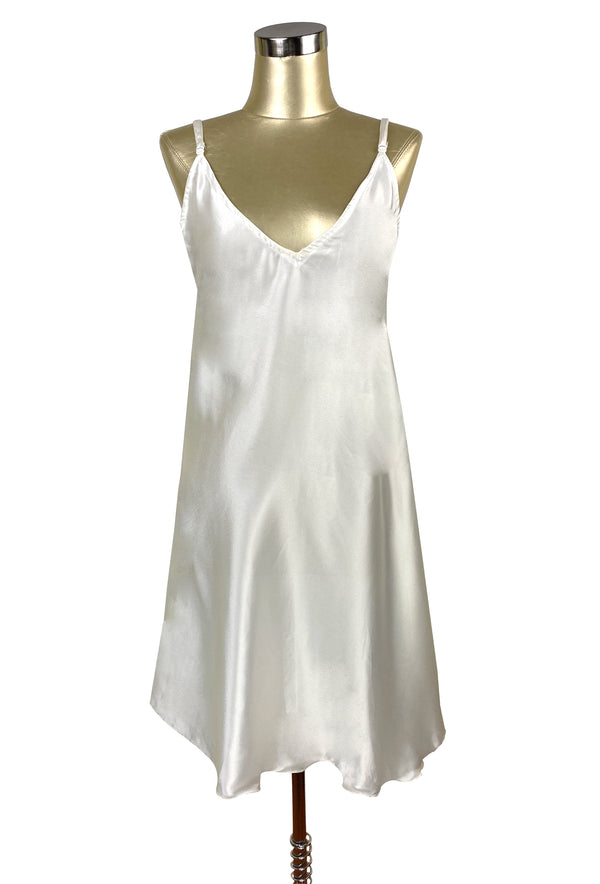 1930's Style Satin Bias Gatsby Glamour Slip Dress - Ivory