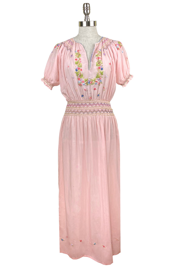 1930's Vintage Embroidered Silk Voile Bohème Dress - Pink