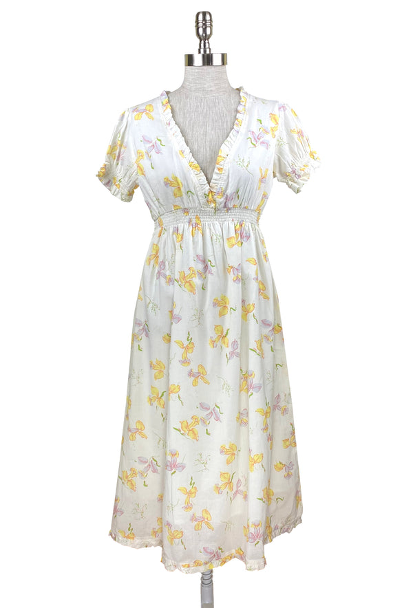 1930's Vintage Smocked Daffodil Print Empire Dress - White