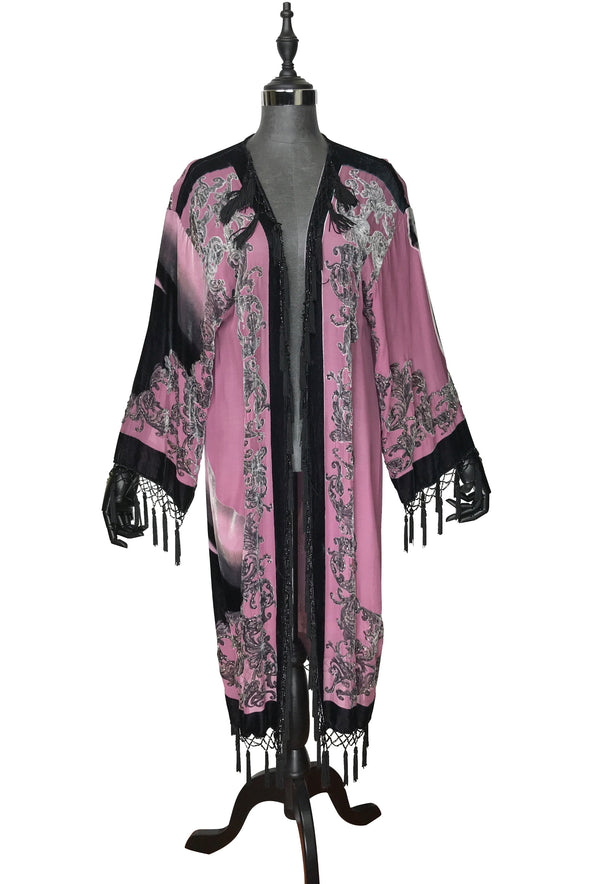 1930's Art Deco Kimono Scarf Long Jacket - Marilyn Monroe - Rouge Pink Beaded Silk Velvet - The Deco Haus