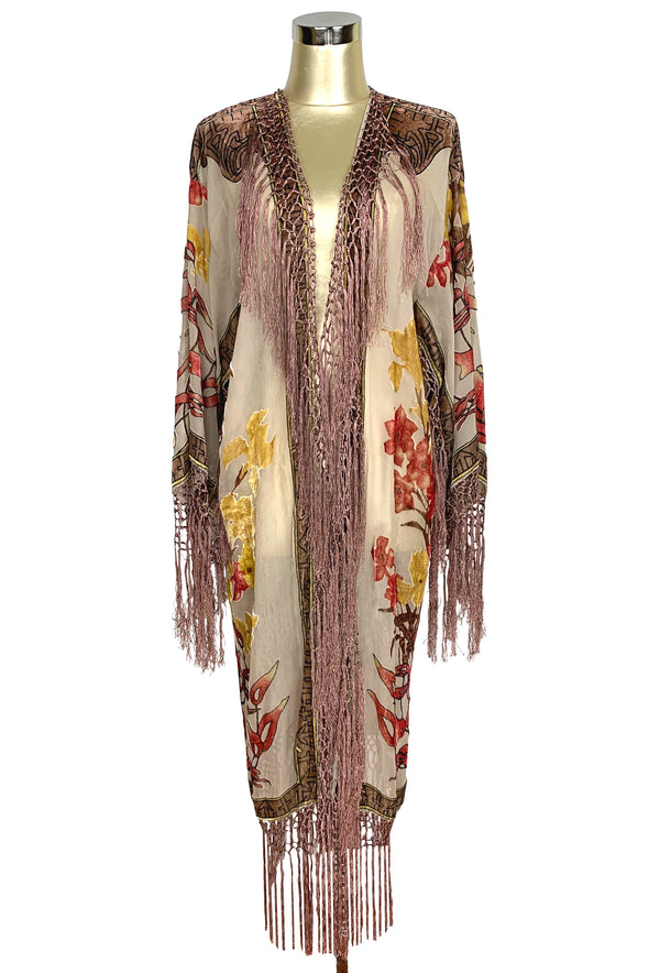 1930's Art Deco Kimono Scarf Long Jacket - Mucha Helena - Cream Mahogany - The Deco Haus