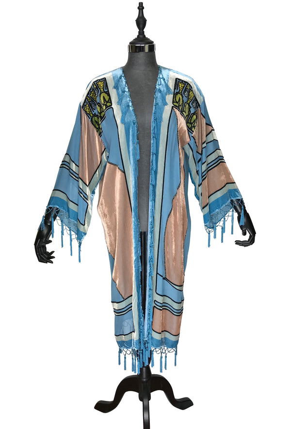 1930's Art Deco Kimono Scarf Long Jacket - Mucha Sophia - French Blue Silk Velvet