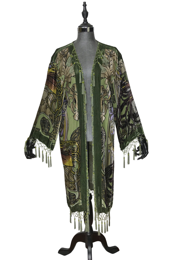 1930's Art Deco Kimono Scarf Long Jacket - Mucha Zodiac Fortuneteller - Olive Green Silk Velvet