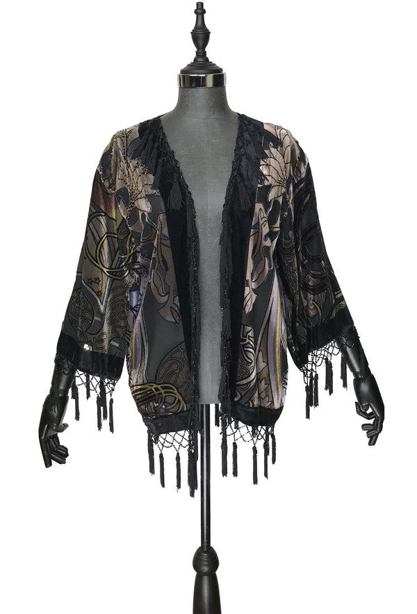 1930's Art Deco Kimono Scarf Short Jacket - Mucha Zodiac Fortuneteller - Black Velvet