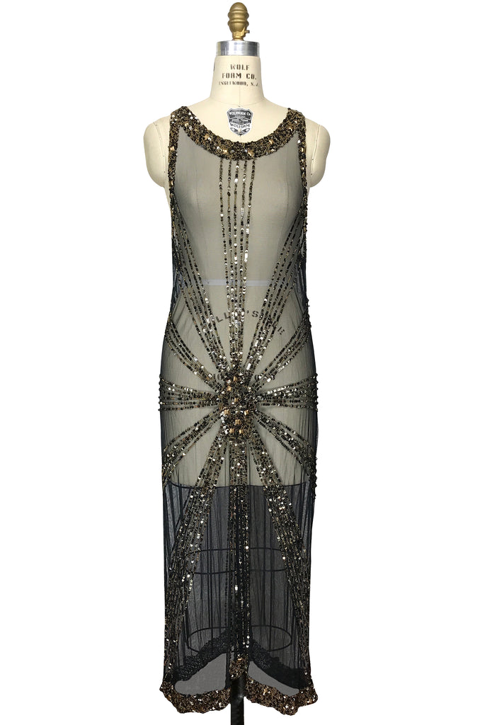 1930\'s Art Deco Panel Liquid Full-Length Overlay Gown - The Sunray ...