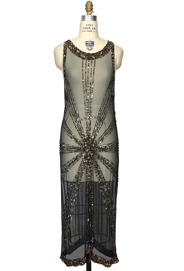 1930's Art Deco Panel Liquid Full-Length Overlay Gown - The Sunray - Black Bronze - The Deco Haus