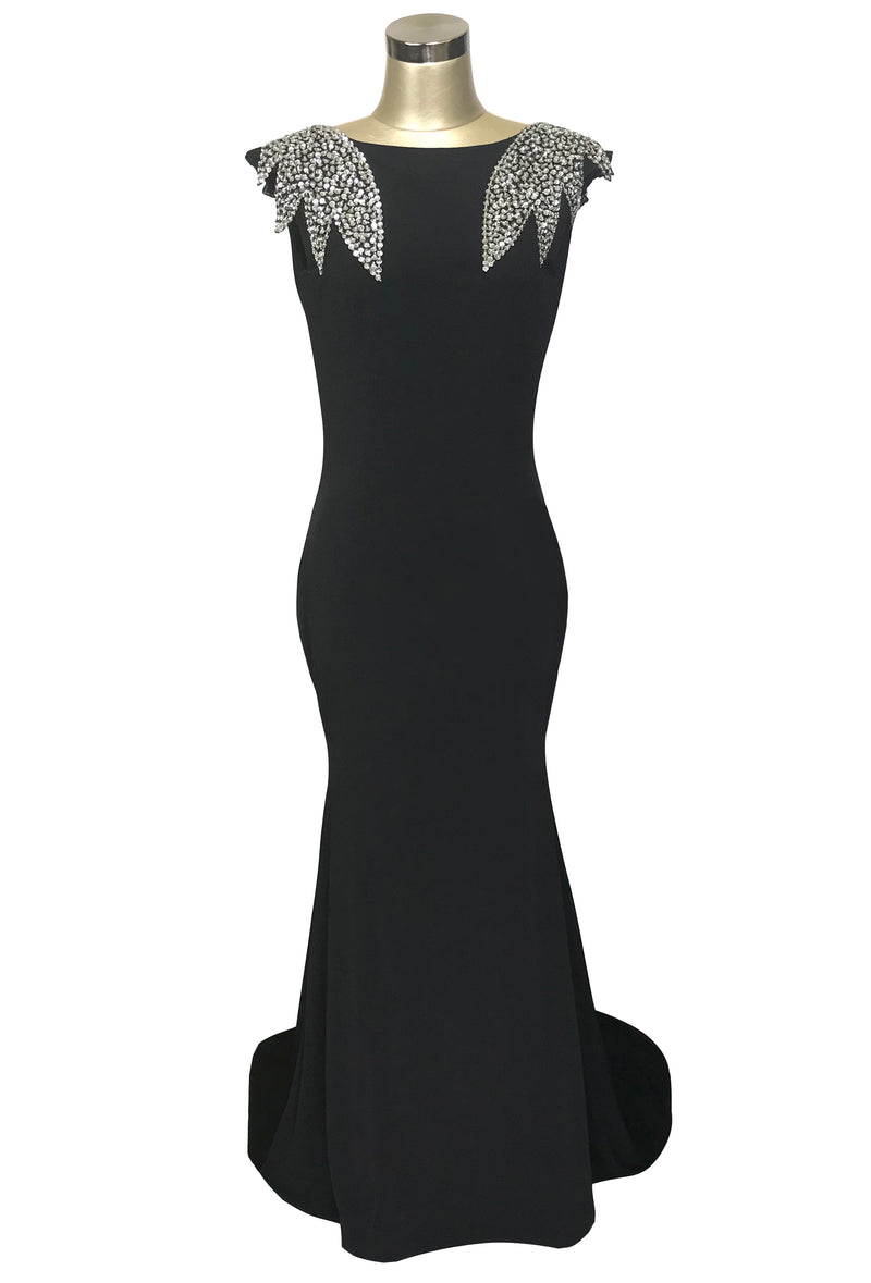 1930's Bias Sequin Backless Fishtail Lombard Glamour Gown - Black