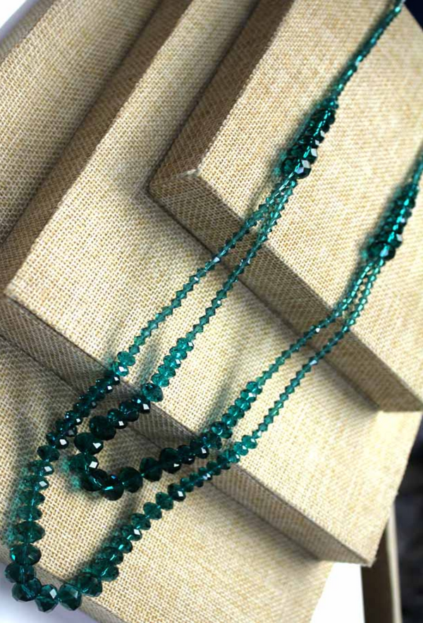 1930's Czech Glass Crystal Beaded Double Strand Necklace - Tourmaline Green