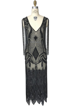 1930's Hollywood Beaded Party Dance Gown - The Monaco - Full-Length - Black Multi