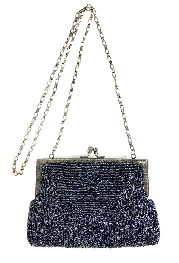 1930's Inspired Gatsby Beaded Deco Rectangular Clutch Evening Purse - Gunmetal Grey - The Deco Haus