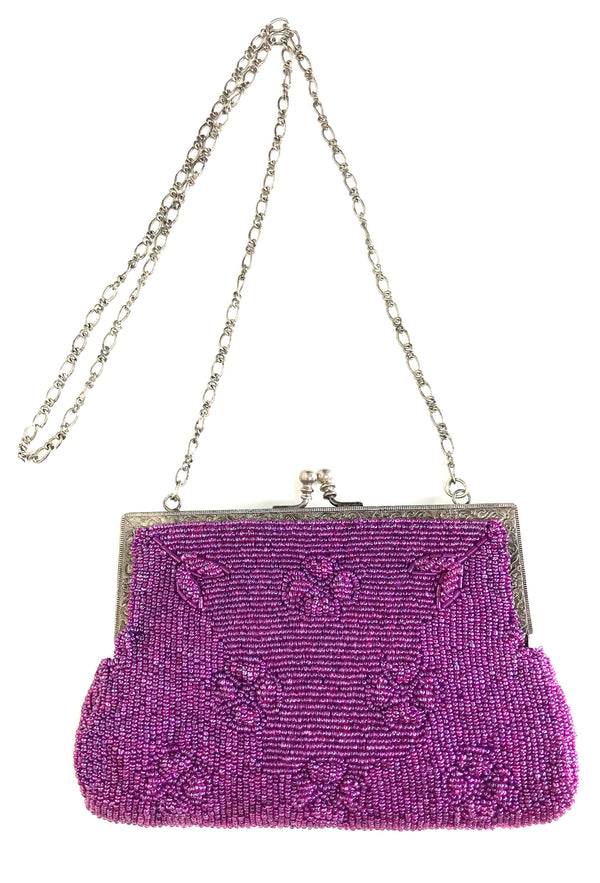 1930's Inspired Gatsby Beaded Deco Rectangular Clutch Evening Purse - Violet - The Deco Haus