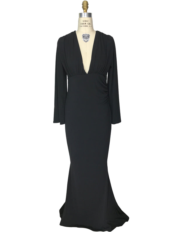 1930's Style Bias Ruched Long Sleeve Full-Length Hayworth Gown - Black - The Deco Haus