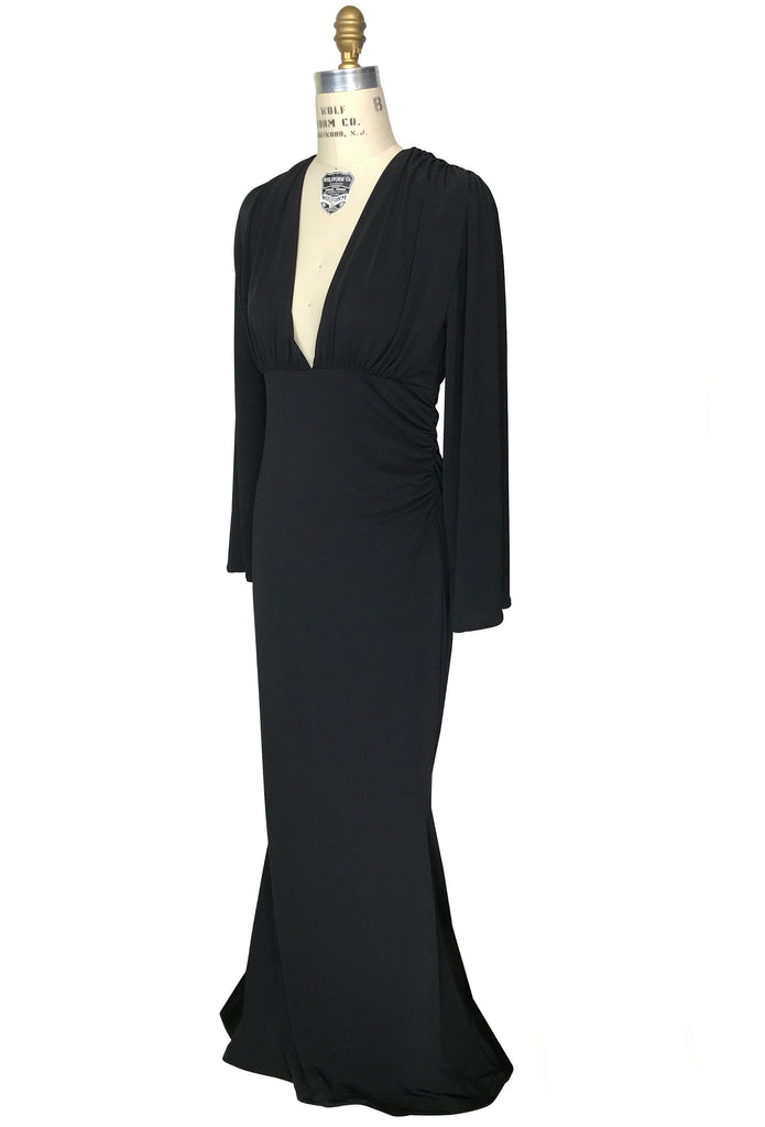 1930s Evening Dresses | Old Hollywood Dress 1930s Style Bias Ruched Long Sleeve Full-Length Hayworth Gown - Black $229.95 AT vintagedancer.com