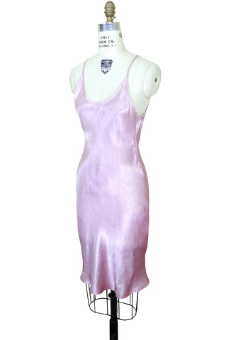 1930's Style Satin Bias Gatsby Glamour Slip Dress - Rouge Pink