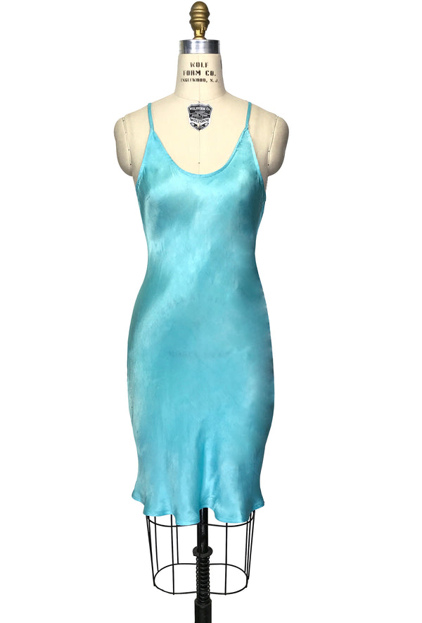 1930's Style Satin Bias Gatsby Glamour Slip Dress - Tiffany Blue - The Deco Haus