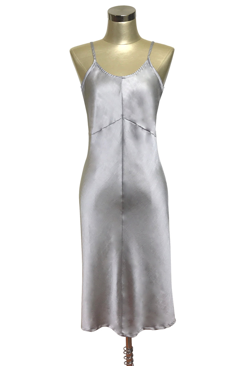 1930's Style Panel Bias Satin Slip Dress - Silver - The Deco Haus