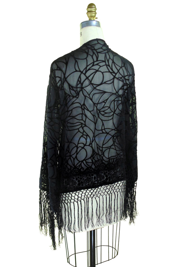 1930's Vintage Velvet Art Deco Fringe Scarf Coat - Spider - Black - The Deco Haus