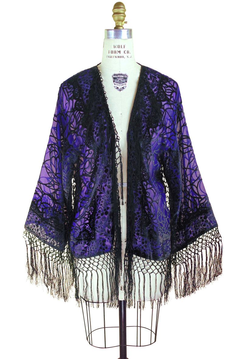 1930's Vintage Velvet Art Deco Fringe Scarf Coat - Spider - Black Royal Purple - The Deco Haus